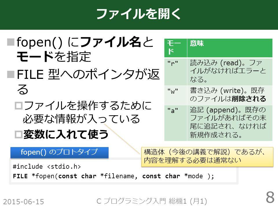fopen() にファイル名と モードを指定 FILE 型へのポインタが返 る  ファイルを操作するために 必要な情報が入っている  変数に入れて使う 2015-06-15 C プログラミング入門 総機 1 ( 月 1) 8 ファイルを開く #include FILE *fopen(const char *filename, const char *mode ); fopen() のプロトタイプ モー ド 意味 r 読み込み (read) 。ファ イルがなければエラーと なる。 w 書き込み (write) 。既存 のファイルは削除される a 追記 (append) 。既存の ファイルがあればその末 尾に追記され、なければ 新規作成される。 構造体(今後の講義で解説)であるが、 内容を理解する必要は通常ない 構造体(今後の講義で解説)であるが、 内容を理解する必要は通常ない