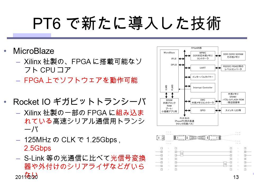 PT6 で新たに導入した技術 MicroBlaze –Xilinx 社製の、 FPGA に搭載可能なソ フト CPU コア –FPGA 上でソフトウェアを動作可能 Rocket IO ギガビットトランシーバ –Xilinx 社製の一部の FPGA に組み込ま れている高速シリアル通信用トランシ ーバ –125MHz の CLK で 1.25Gbps, 2.5Gbps –S-Link 等の光通信に比べて光信号変換 器や外付けのシリアライザなどがいら ない 2011/2/2013