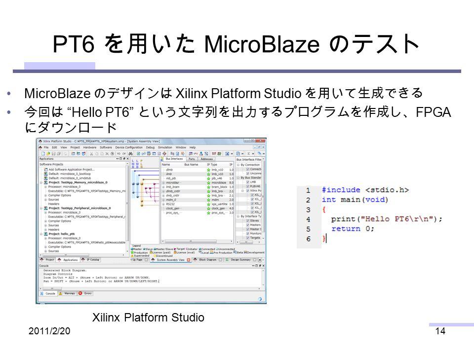 PT6 を用いた MicroBlaze のテスト MicroBlaze のデザインは Xilinx Platform Studio を用いて生成できる 今回は Hello PT6 という文字列を出力するプログラムを作成し、 FPGA にダウンロード 2011/2/2014 Xilinx Platform Studio