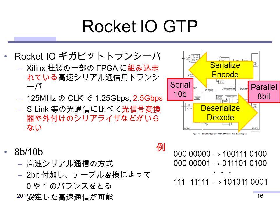 Rocket IO GTP Rocket IO ギガビットトランシーバ –Xilinx 社製の一部の FPGA に組み込ま れている高速シリアル通信用トランシ ーバ –125MHz の CLK で 1.25Gbps, 2.5Gbps –S-Link 等の光通信に比べて光信号変換 器や外付けのシリアライザなどがいら ない 8b/10b – 高速シリアル通信の方式 –2bit 付加し、テーブル変換によって 0 や 1 のバランスをとる – 安定した高速通信が可能 2011/2/2016 Serialize Encode Deserialize Decode Parallel 8bit Serial 10b 例 000 00000 → 100111 0100 000 00001 → 011101 0100 ・・・ 111 11111 → 101011 0001