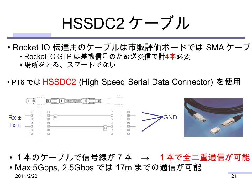 HSSDC2 ケーブル 2011/2/2021 Rocket IO 伝達用のケーブルは市販評価ボードでは SMA ケーブル Rocket IO GTP は差動信号のため送受信で計 4 本必要 場所をとる、スマートでない PT6 では HSSDC2 (High Speed Serial Data Connector) を使用 1本のケーブルで信号線が7本 → 1本で全二重通信が可能 Max 5Gbps, 2.5Gbps では 17m までの通信が可能 GND Rx ± Tx ±