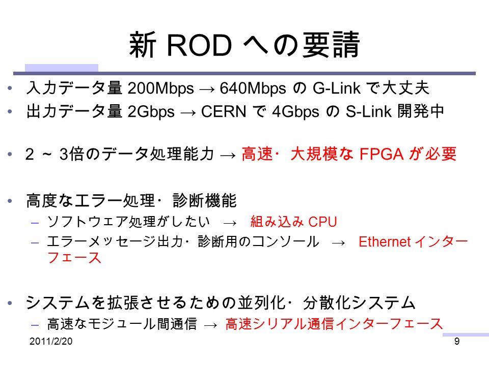 新 ROD への要請 入力データ量 200Mbps → 640Mbps の G-Link で大丈夫 出力データ量 2Gbps → CERN で 4Gbps の S-Link 開発中 2 ~ 3 倍のデータ処理能力 → 高速・大規模な FPGA が必要 高度なエラー処理・診断機能 – ソフトウェア処理がしたい → 組み込み CPU – エラーメッセージ出力・診断用のコンソール → Ethernet インター フェース システムを拡張させるための並列化・分散化システム – 高速なモジュール間通信 → 高速シリアル通信インターフェース 2011/2/209