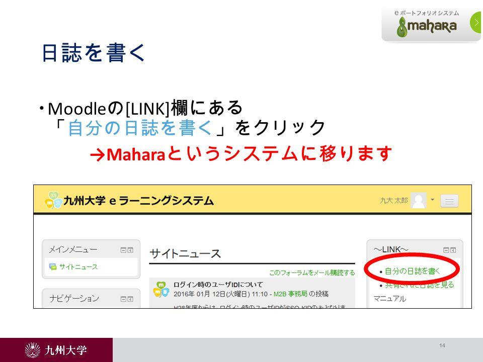 日誌を書く  Moodle の [LINK] 欄にある 「自分の日誌を書く」をクリック →Mahara というシステムに移ります 14