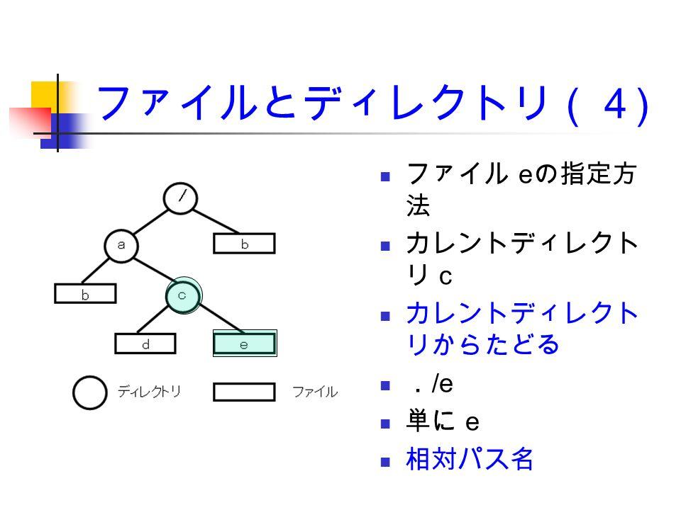 ファイルとディレクトリ(4 ) ファイル e の指定方 法 カレントディレクト リ c カレントディレクト リからたどる . /e 単に e 相対パス名