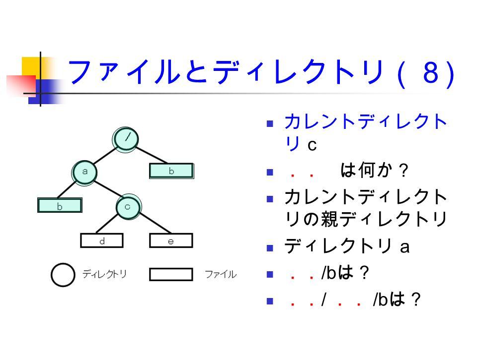 ファイルとディレクトリ(8 ) カレントディレクト リ c .. は何か? カレントディレクト リの親ディレクトリ ディレクトリ a .. /b は? .. / .. /b は?