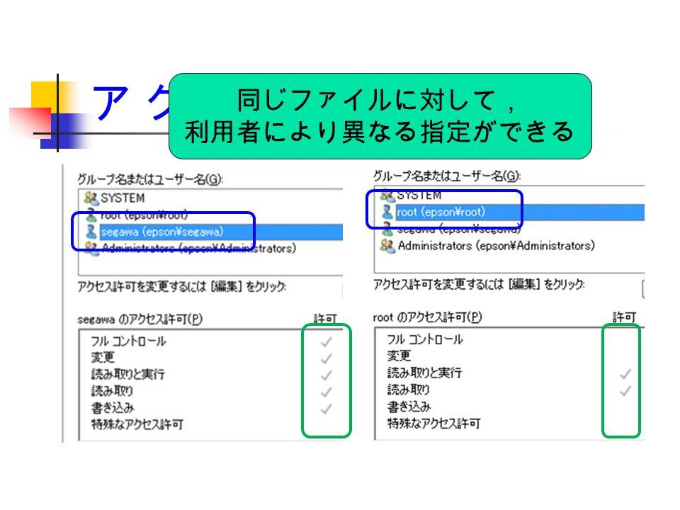 ア ク セ ス 管 理(5) 同じファイルに対して, 利用者により異なる指定ができる