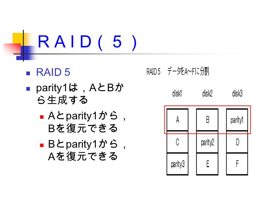 R A I D (5) RAID 5 parity1 は, A と B か ら生成する A と parity1 から, B を復元できる B と parity1 から, A を復元できる