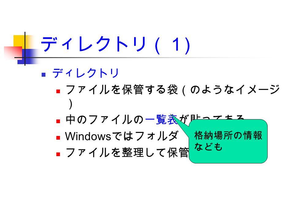 ディレクトリ(1 ) ディレクトリ ファイルを保管する袋(のようなイメージ ) 中のファイルの一覧表が貼ってある Windows ではフォルダ ファイルを整理して保管 格納場所の情報 なども