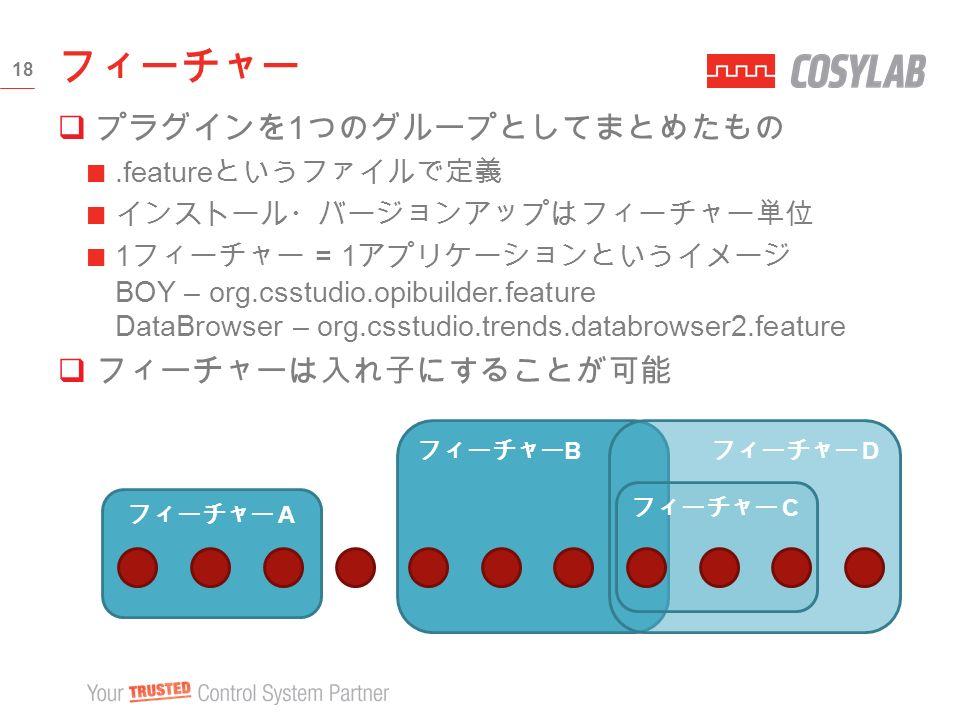  プラグインを 1 つのグループとしてまとめたもの.feature というファイルで定義 インストール・バージョンアップはフィーチャー単位 1 フィーチャー = 1 アプリケーションというイメージ BOY – org.csstudio.opibuilder.feature DataBrowser – org.csstudio.trends.databrowser2.feature  フィーチャーは入れ子にすることが可能 フィーチャー 18 フィーチャー B フィーチャー D フィーチャー C フィーチャー A