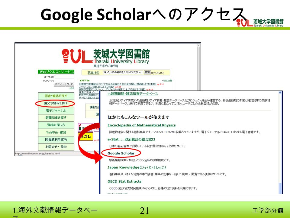 21 工学部分館 Google Scholar へのアクセス 1. 海外文献情報データベー ス