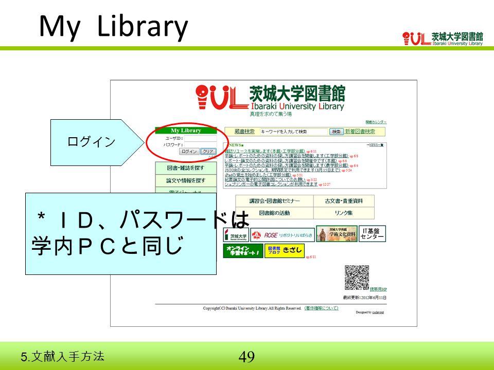 49 My Library *ID、パスワードは 学内PCと同じ ログイン 5. 文献入手方法
