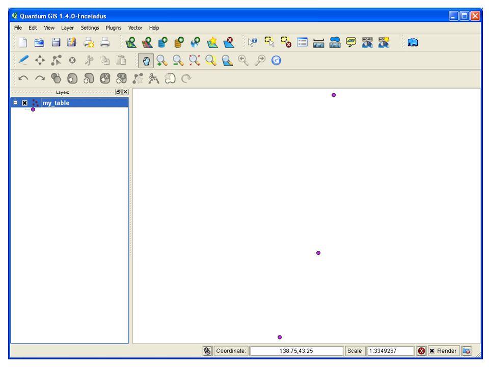 PostGIS につなぐ データベースを 選択し テーブルを選択 し 加える