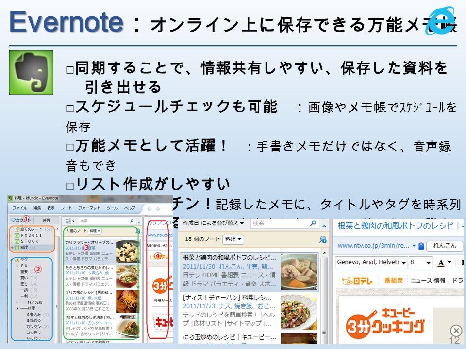 Evernote Evernote : オンライン上に保存できる万能メモ 帳 □ 同期することで、情報共有しやすい、保存した資料を 引き出せる □ スケジュールチェックも可能 : 画像やメモ帳でスケジュールを 保存 □ 万能メモとして活躍! :手書きメモだけではなく、音声録 音もでき □ リスト作成がしやすい □ 情報整理が楽チン! 記録したメモに、タイトルやタグを時系列 □ 後で読み返せる メモした内容を自分の PC に落す事で、議事 録や仕事用ノートとして後で見返せる 12