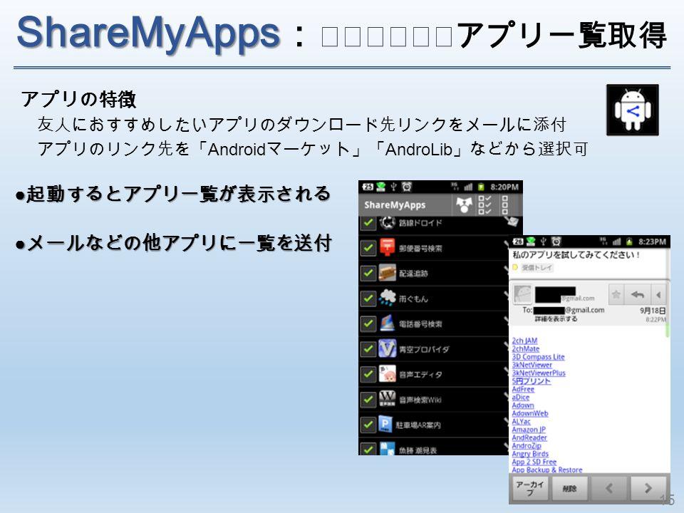 ShareMyApps ShareMyApps : インストールアプリ一覧取 得 アプリの特徴 友人におすすめしたいアプリのダウンロード先リンクをメールに添付 アプリのリンク先を「 Android マーケット」「 AndroLib 」などから選択可 ● 起動するとアプリ一覧が表示される ● メールなどの他アプリに一覧を送付 15