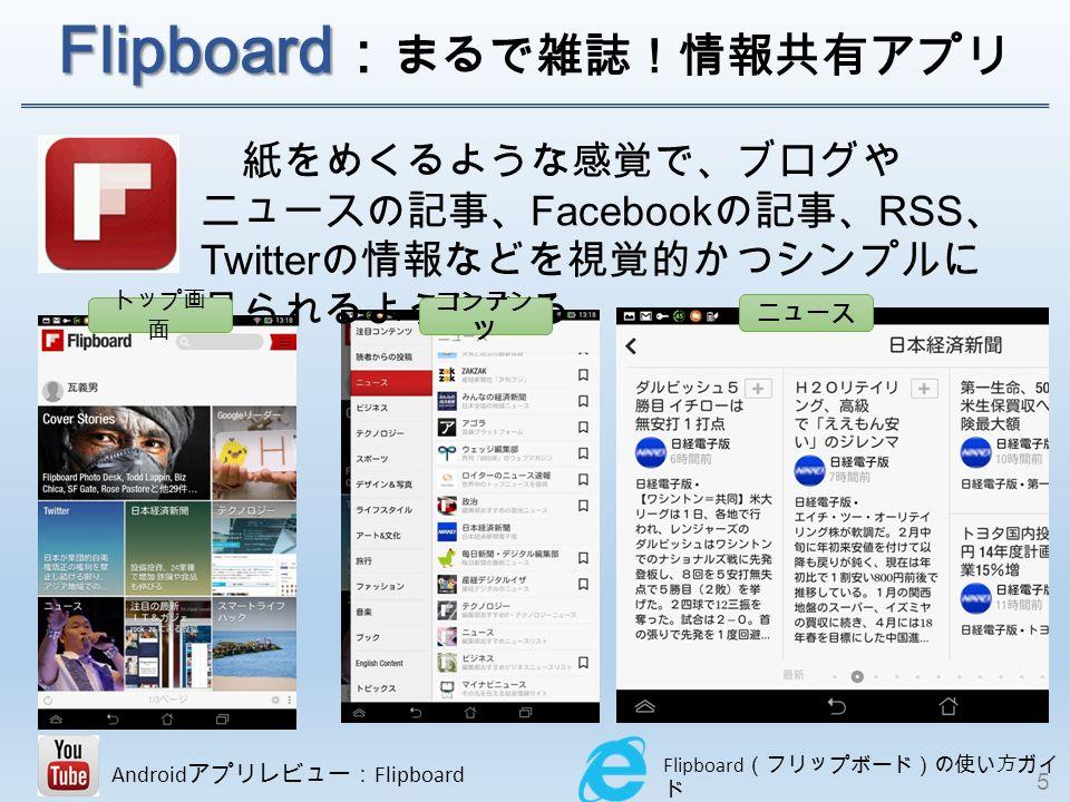 Flipboard Flipboard : まるで雑誌!情報共有アプリ 紙をめくるような感覚で、ブログや ニュースの記事、 Facebook の記事、 RSS 、 Twitter の情報などを視覚的かつシンプルに 見られるようになる Flipboard (フリップボード)の使い方ガイ ド Android アプリレビュー: Flipboard トップ画 面 コンテン ツ ニュース 5