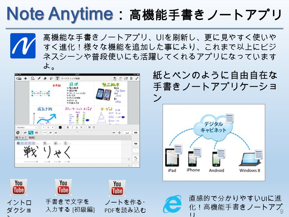 Note Anytime Note Anytime : 高機能手書きノートア プリ 直感的で分かりやすい UI に進 化!高機能手書きノートアプ リ 高機能な手書きノートアプリ、 UI を刷新し、更に見やすく使いや すく進化!様々な機能を追加した事により、これまで以上にビジ ネスシーンや普段使いにも活躍してくれるアプリになっています よ。 イントロ ダクショ ン 手書きで文字を 入力する [ 初級編 ] ノートを作る・ PDF を読み込む 紙とペンのように自由自在な 手書きノートアプリケーショ ン 9