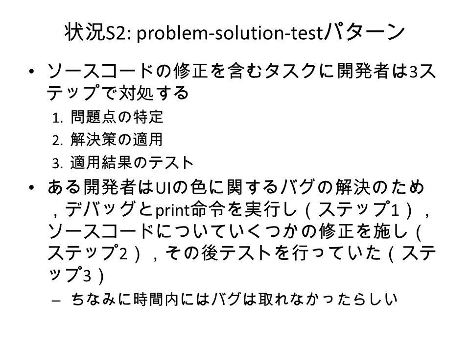 状況 S2: problem-solution-test パターン ソースコードの修正を含むタスクに開発者は 3 ス テップで対処する 1.