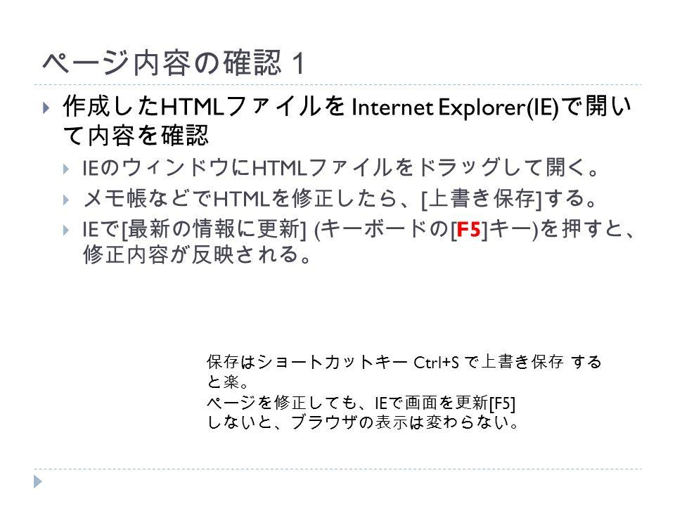 ページ内容の確認1  作成した HTML ファイルを Internet Explorer(IE) で開い て内容を確認  IE のウィンドウに HTML ファイルをドラッグして開く。  メモ帳などで HTML を修正したら、 [ 上書き保存 ] する。  IE で [ 最新の情報に更新 ] ( キーボードの [F5] キー ) を押すと、 修正内容が反映される。 保存はショートカットキー Ctrl+S で上書き保存 する と楽。 ページを修正しても、 IE で画面を更新 [F5] しないと、ブラウザの表示は変わらない。