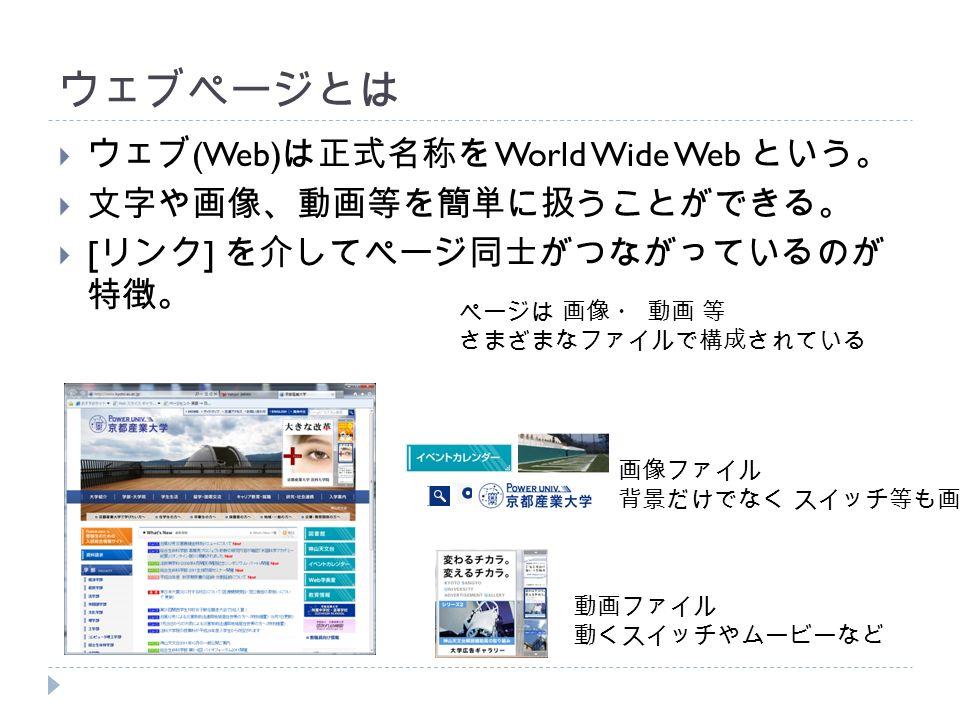 ウェブページとは  ウェブ (Web) は正式名称を World Wide Web という。  文字や画像、動画等を簡単に扱うことができる。  [ リンク ] を介してページ同士がつながっているのが 特徴。 ページは 画像 ・ 動画 等 さまざまなファイルで構成されている 画像ファイル 背景だけでなく スイッチ等も画像 動画ファイル 動くスイッチやムービーなど
