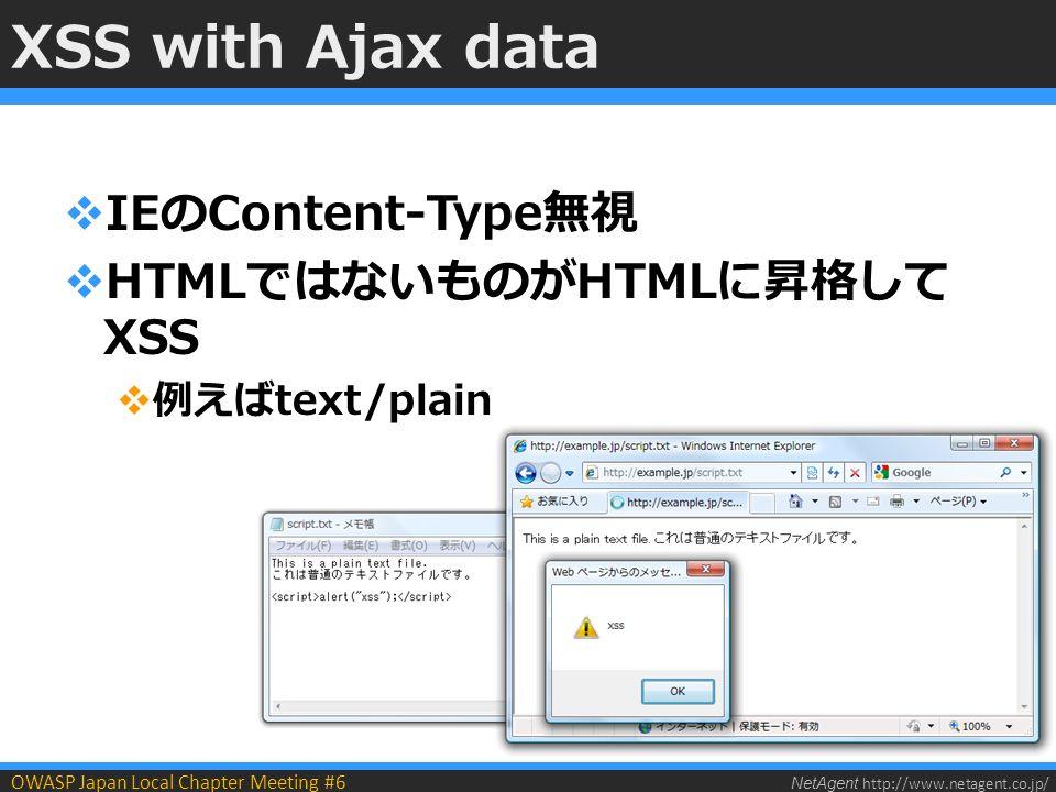 NetAgent http://www.netagent.co.jp/ OWASP Japan Local Chapter Meeting #6 XSS with Ajax data  IEのContent-Type無視  HTMLではないものがHTMLに昇格して XSS  例えばtext/plain