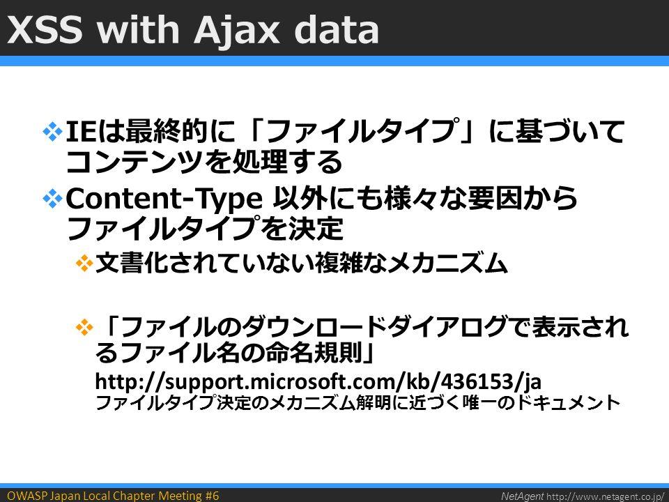 NetAgent http://www.netagent.co.jp/ OWASP Japan Local Chapter Meeting #6 XSS with Ajax data  IEは最終的に「ファイルタイプ」に基づいて コンテンツを処理する  Content-Type 以外にも様々な要因から ファイルタイプを決定  文書化されていない複雑なメカニズム  「ファイルのダウンロードダイアログで表示され るファイル名の命名規則」 http://support.microsoft.com/kb/436153/ja ファイルタイプ決定のメカニズム解明に近づく唯一のドキュメント