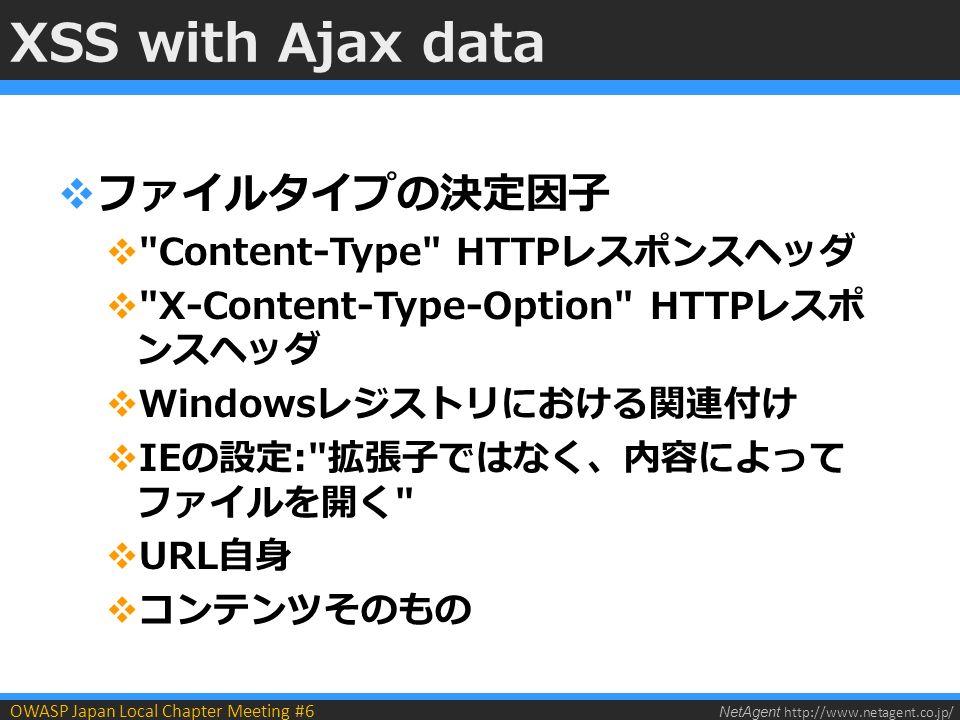 NetAgent http://www.netagent.co.jp/ OWASP Japan Local Chapter Meeting #6 XSS with Ajax data  ファイルタイプの決定因子  Content-Type HTTPレスポンスヘッダ  X-Content-Type-Option HTTPレスポ ンスヘッダ  Windowsレジストリにおける関連付け  IEの設定: 拡張子ではなく、内容によって ファイルを開く  URL自身  コンテンツそのもの