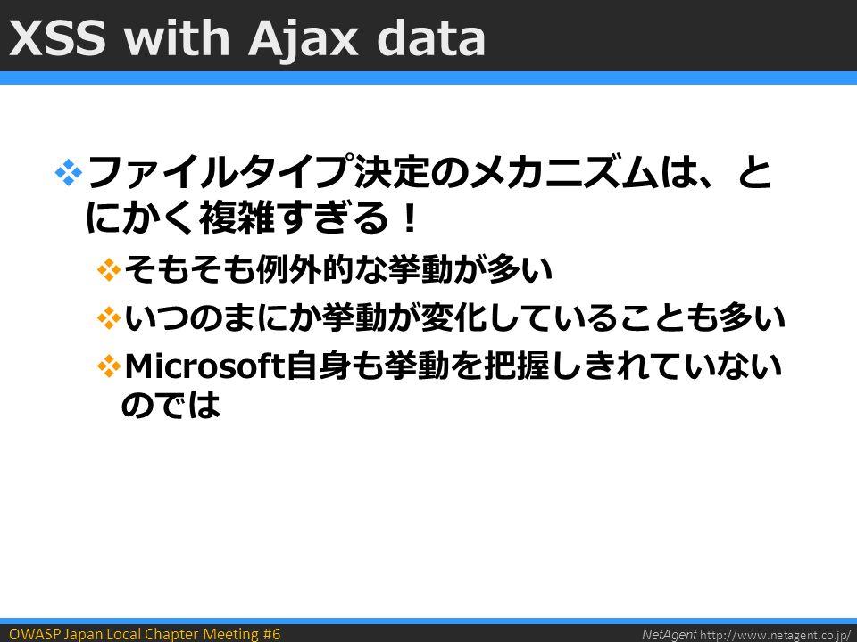 NetAgent http://www.netagent.co.jp/ OWASP Japan Local Chapter Meeting #6 XSS with Ajax data  ファイルタイプ決定のメカニズムは、と にかく複雑すぎる!  そもそも例外的な挙動が多い  いつのまにか挙動が変化していることも多い  Microsoft自身も挙動を把握しきれていない のでは