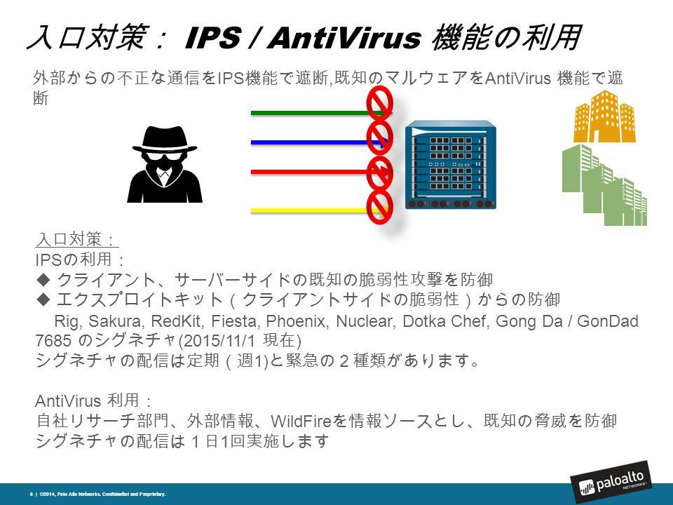 入口対策: IPS / AntiVirus 機能の利用 6 | ©2014, Palo Alto Networks.
