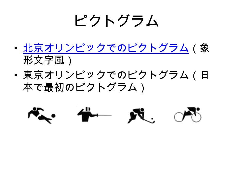 ピクトグラム 北京オリンピックでのピクトグラム(象 形文字風) 北京オリンピックでのピクトグラム 東京オリンピックでのピクトグラム(日 本で最初のピクトグラム)