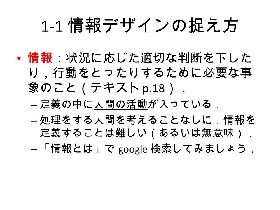 1-1 情報デザインの捉え方 情報:状況に応じた適切な判断を下した り,行動をとったりするために必要な事 象のこと(テキスト p.18 ). – 定義の中に人間の活動が入っている. – 処理をする人間を考えることなしに,情報を 定義することは難しい(あるいは無意味). – 「情報とは」で google 検索してみましょう.