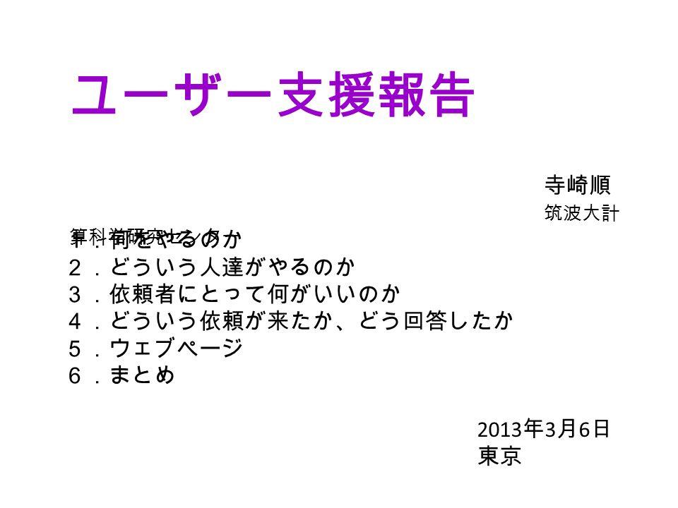ユーザー支援報告 寺崎順 筑波大計 算科学研究センター 1.何をやるのか 2.どういう人達がやるのか 3.依頼者にとって何がいいのか 4.どういう依頼が来たか、どう回答したか 5.ウェブページ 6.まとめ 2013 年 3 月 6 日 東京