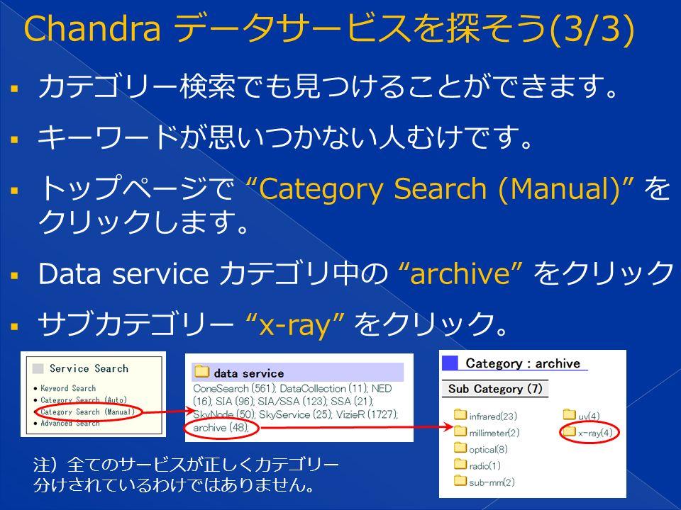  カテゴリー検索でも見つけることができます。  キーワードが思いつかない人むけです。  トップページで Category Search (Manual) を クリックします。  Data service カテゴリ中の archive をクリック  サブカテゴリー x-ray をクリック。 注)全てのサービスが正しくカテゴリー 分けされているわけではありません。
