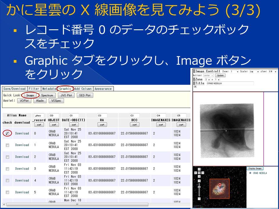  レコード番号 0 のデータのチェックボック スをチェック  Graphic タブをクリックし、Image ボタン をクリック ✓