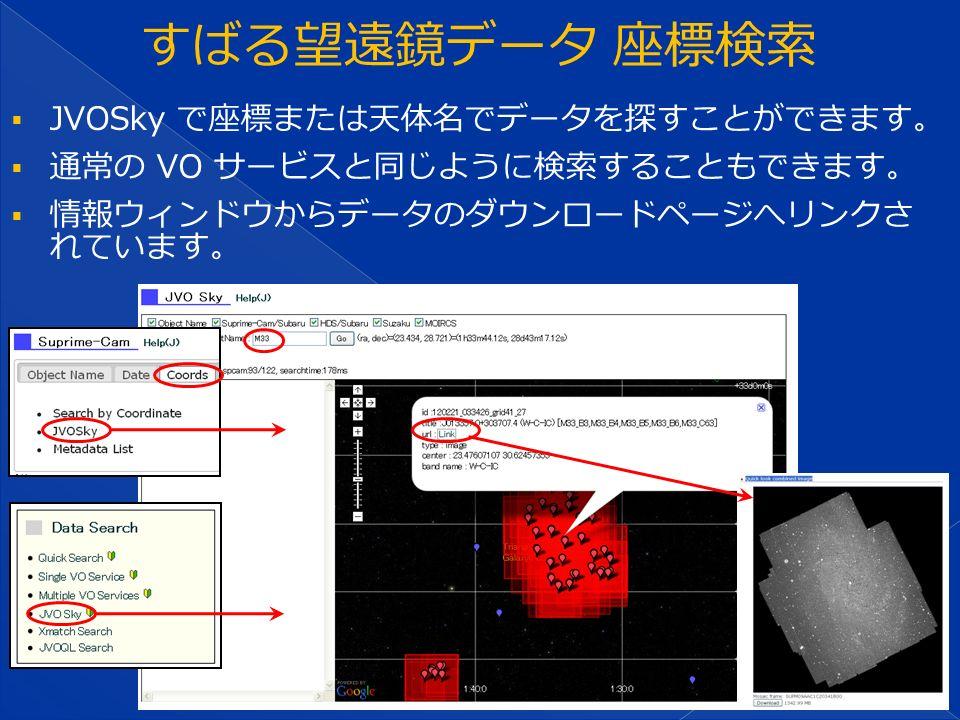  JVOSky で座標または天体名でデータを探すことができます。  通常の VO サービスと同じように検索することもできます。  情報ウィンドウからデータのダウンロードページへリンクさ れています。