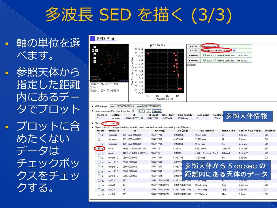  軸の単位を選 べます。  参照天体から 指定した距離 内にあるデー タでプロット  プロットに含 めたくない データは チェックボッ クスをチェッ クする。 参照天体情報 参照天体から 5 arcsec の 距離内にある天体のデータ