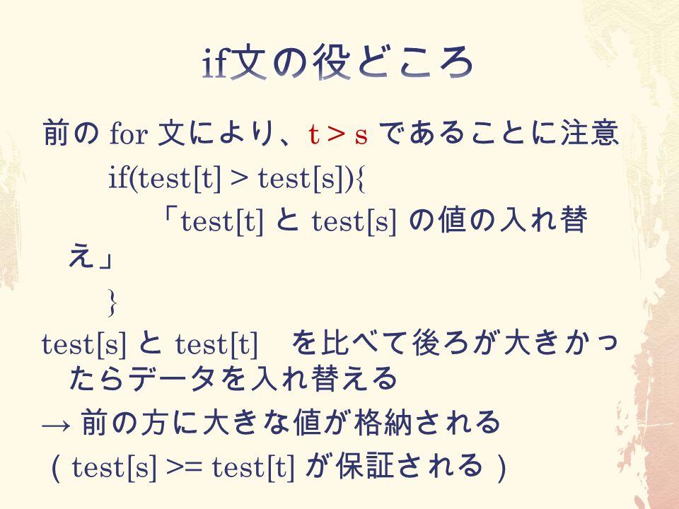 前の for 文により、 t > s であることに注意 if(test[t] > test[s]){ 「 test[t] と test[s] の値の入れ替 え」 } test[s] と test[t] を比べて後ろが大きかっ たらデータを入れ替える → 前の方に大きな値が格納される ( test[s] >= test[t] が保証される)