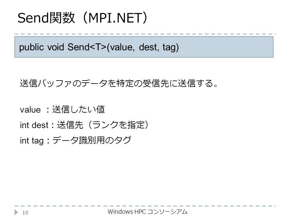 Send関数(MPI.NET) Windows HPC コンソーシアム 10 public void Send (value, dest, tag) value :送信したい値 int dest :送信先(ランクを指定) int tag :データ識別用のタグ 送信バッファのデータを特定の受信先に送信する。