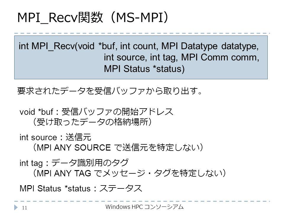 MPI_Recv関数(MS-MPI) Windows HPC コンソーシアム 11 int MPI_Recv(void *buf, int count, MPI Datatype datatype, int source, int tag, MPI Comm comm, MPI Status *status) void *buf :受信バッファの開始アドレス (受け取ったデータの格納場所) int source :送信元 ( MPI ANY SOURCE で送信元を特定しない) int tag :データ識別用のタグ ( MPI ANY TAG でメッセージ・タグを特定しない) MPI Status *status :ステータス 要求されたデータを受信バッファから取り出す。