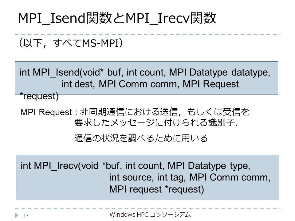 MPI_Isend関数とMPI_Irecv関数 Windows HPC コンソーシアム 13 int MPI_Isend(void* buf, int count, MPI Datatype datatype, int dest, MPI Comm comm, MPI Request *request) MPI Request : 非同期通信における送信,もしくは受信を 要求したメッセージに付けられる識別子. 通信の状況を調べるために用いる int MPI_Irecv(void *buf, int count, MPI Datatype type, int source, int tag, MPI Comm comm, MPI request *request) (以下,すべてMS-MPI)