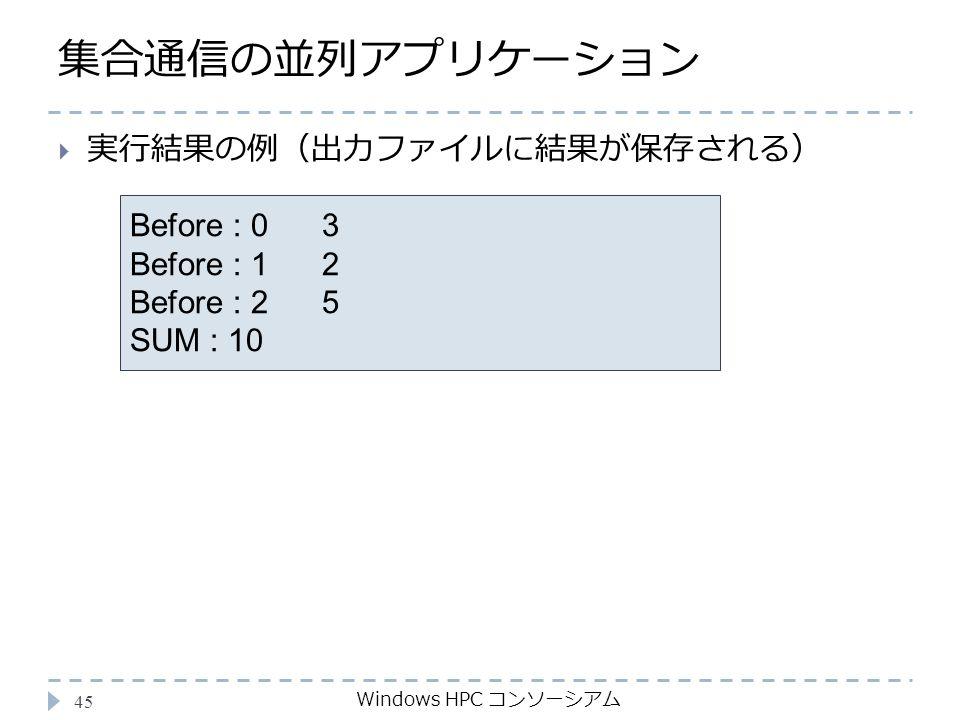 集合通信の並列アプリケーション Windows HPC コンソーシアム 45 Before : 03 Before : 12 Before : 25 SUM : 10  実行結果の例(出力ファイルに結果が保存される)