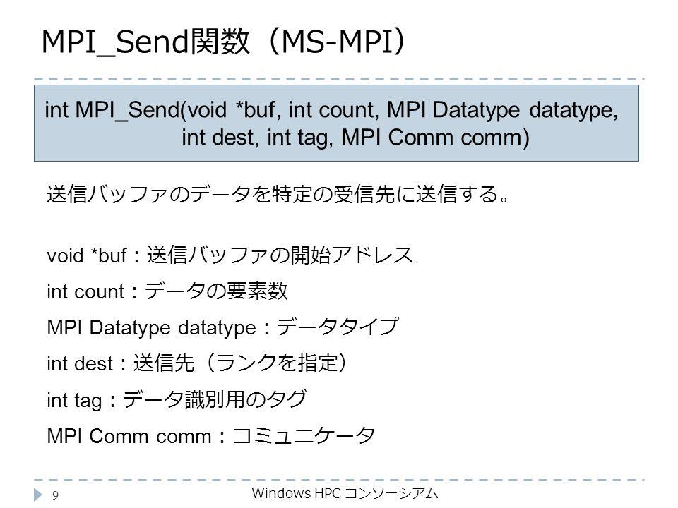 MPI_Send関数(MS-MPI) Windows HPC コンソーシアム 9 int MPI_Send(void *buf, int count, MPI Datatype datatype, int dest, int tag, MPI Comm comm) void *buf :送信バッファの開始アドレス int count :データの要素数 MPI Datatype datatype :データタイプ int dest :送信先(ランクを指定) int tag :データ識別用のタグ MPI Comm comm :コミュニケータ 送信バッファのデータを特定の受信先に送信する。