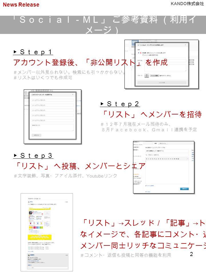 「Social-ML」 ご参考資料 (利用イ メージ) News Release KANDO 株式会社 ▶ Step1 アカウント登録後、「非公開リスト」 を作成 #メンバー以外見られない。検索にも引っかからない。 #リストはいくつでも作成可 ▶ Step3 「リスト」 へ投稿、メンバーとシェア #文字装飾、写真・ファイル添付、 Youtube リンク ▶ Step2 「リスト」 へメンバーを招待 #12年7月現在メール招待のみ、 8月Facebook、Gmail連携を予定 「リスト」 → スレッド/「記事」 → トピック なイメージで、各記事にコメント・返信し メンバー同士リッチなコミュニケーション #コメント・返信も投稿と同等の機能を利用 2