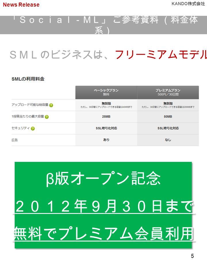 SMLのビジネスは、フリーミアムモデルです β 版オープン記念 2012年9月30日まで 無料でプレミアム会員利用 β 版オープン記念 2012年9月30日まで 無料でプレミアム会員利用 「Social-ML」 ご参考資料 (料金体 系) News Release KANDO 株式会社 5
