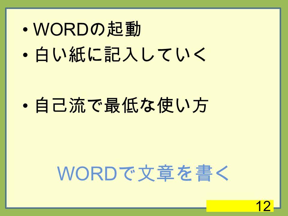 WORD で文章を書く WORD の起動 白い紙に記入していく 自己流で最低な使い方 12