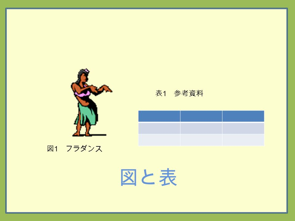 図と表 図 1 フラダンス 表 1 参考資料