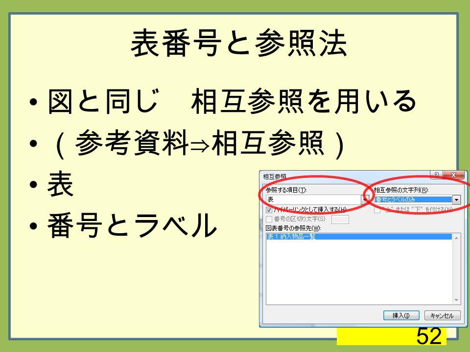 表番号と参照法 図と同じ 相互参照を用いる (参考資料⇒相互参照) 表 番号とラベル 52