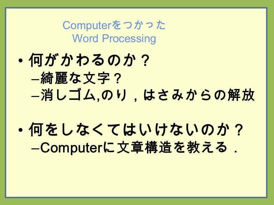 Computer をつかった Word Processing 何がかわるのか? – 綺麗な文字? – 消しゴム, のり,はさみからの解放 何をしなくてはいけないのか? –Computer に文章構造を教える.