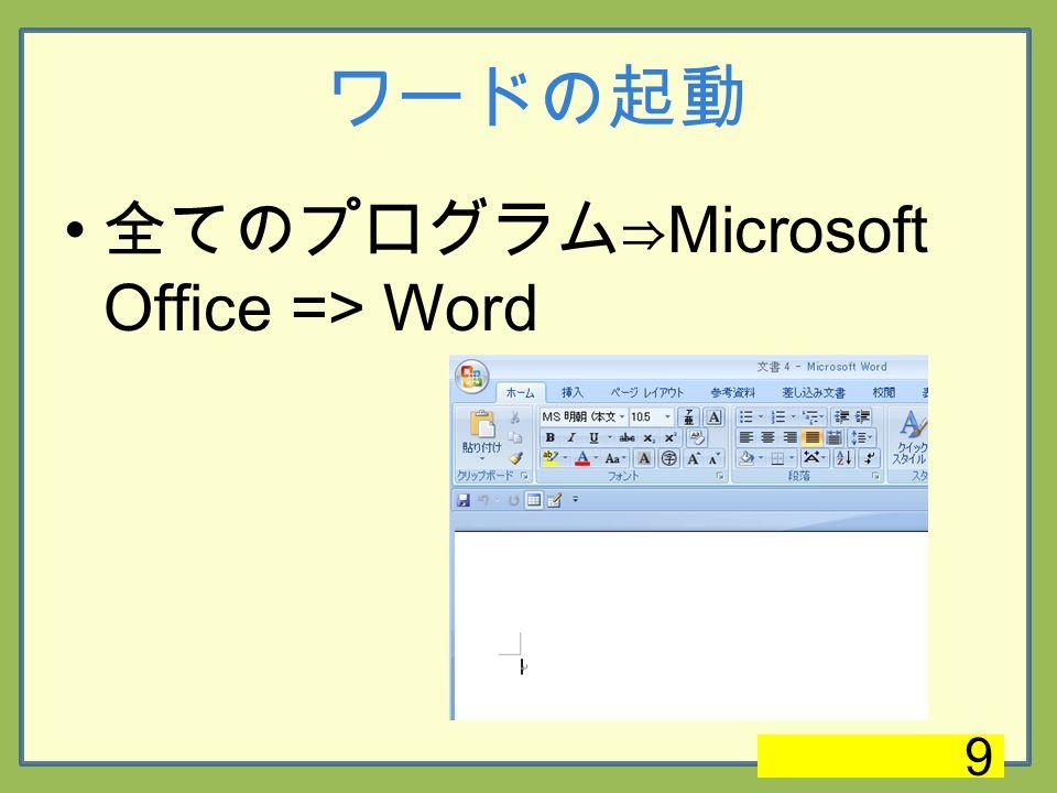 ワードの起動 全てのプログラム⇒ Microsoft Office => Word 9