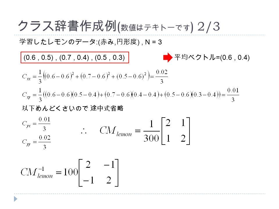 クラス辞書作成例 ( 数値はテキトーです ) 2/3 学習したレモンのデータ :( 赤み, 円形度 ), N = 3 (0.6, 0.5), (0.7, 0.4), (0.5, 0.3) 平均ベクトル =(0.6, 0.4)