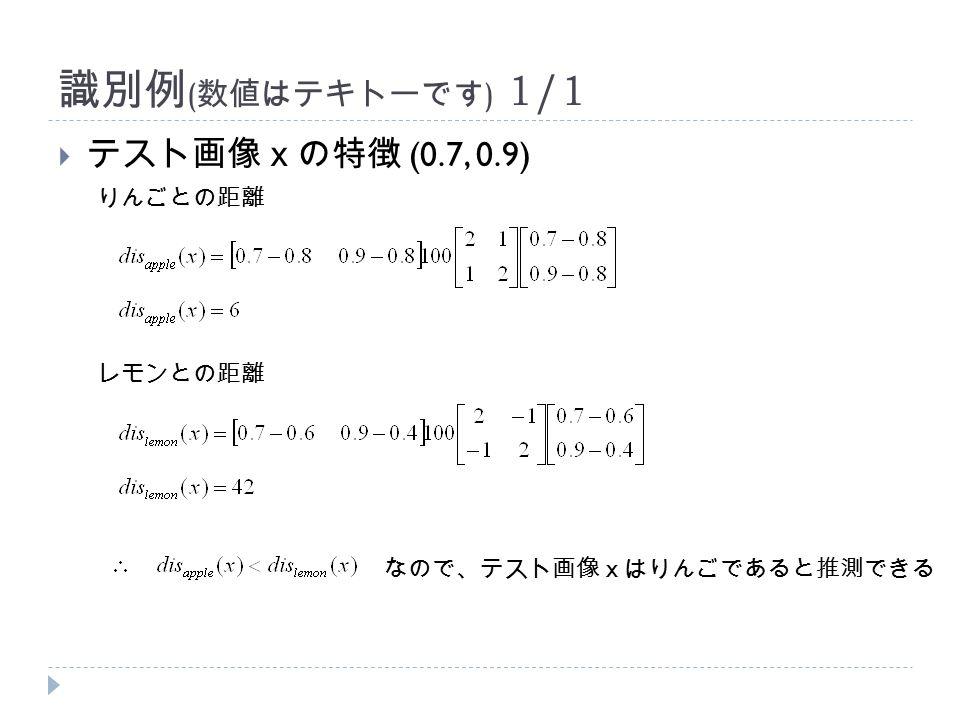 識別例 ( 数値はテキトーです ) 1/1  テスト画像xの特徴 (0.7, 0.9) りんごとの距離 レモンとの距離 なので、テスト画像xはりんごであると推測できる